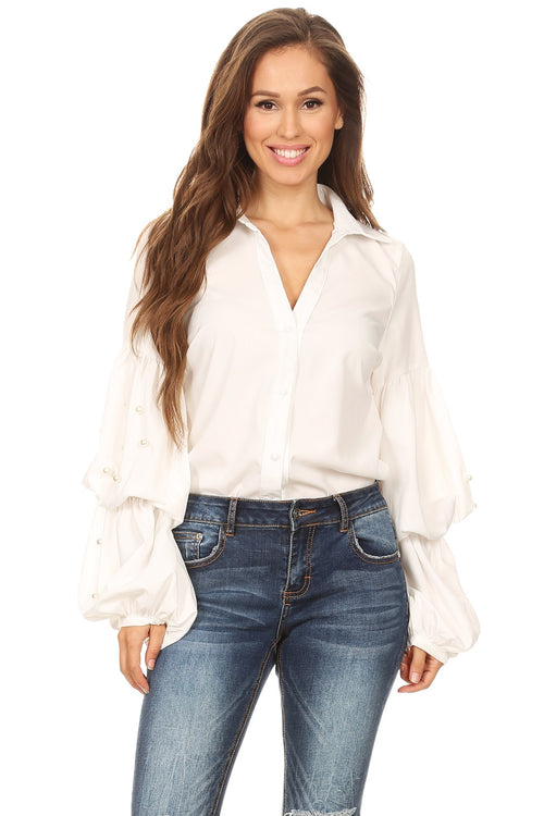 White Bubble Sleeve Pearl Detail Button Down Blouse Top