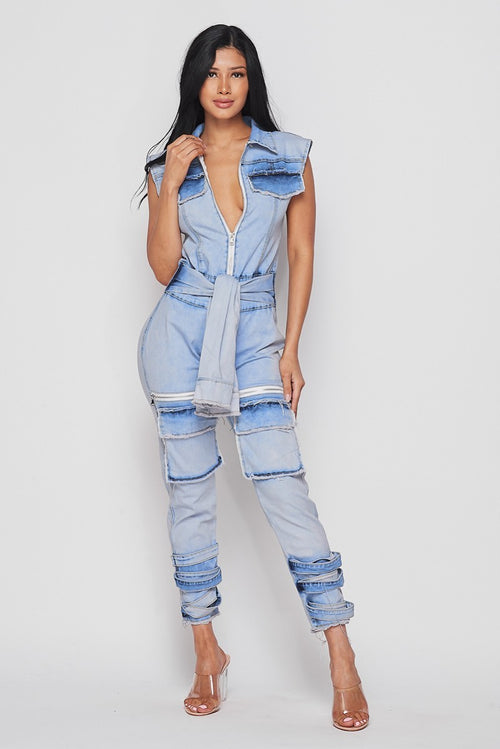 Tie Me Up Faux Jacket Waist Tie Ankle Strap Denim Jumpsuit