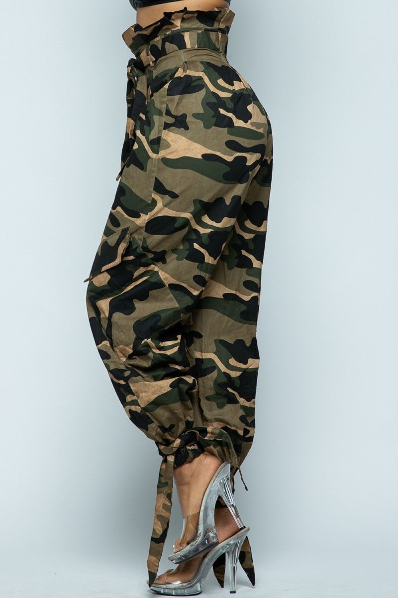 Military Slayin High Waist Paper Bag Loose Fit Leg Camo Pants