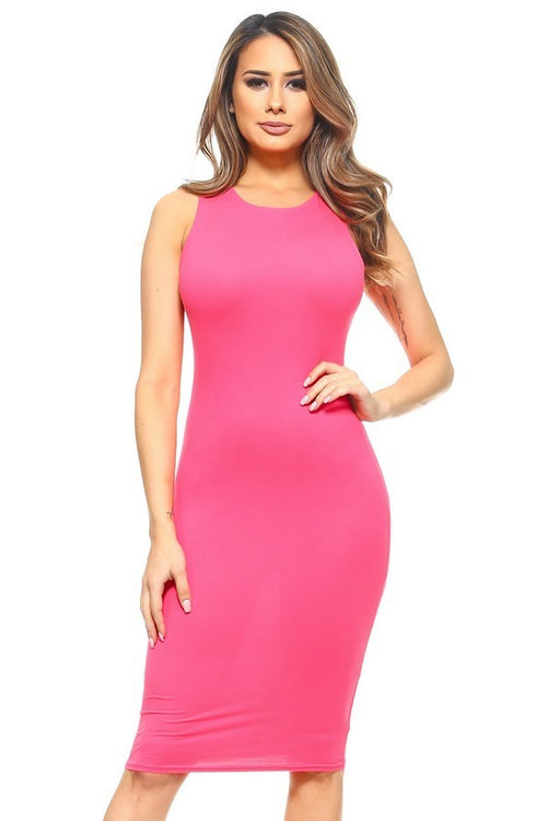 Fuchsia Midi Tank Dress