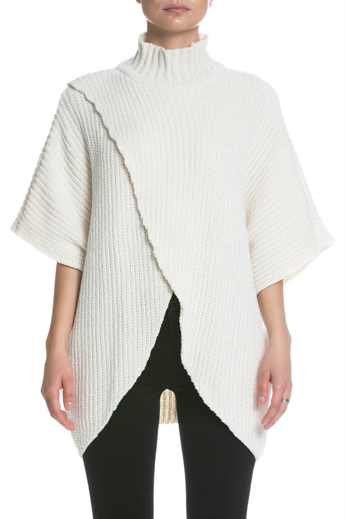 Cute in Cream Cross Front Cape Sweater Top