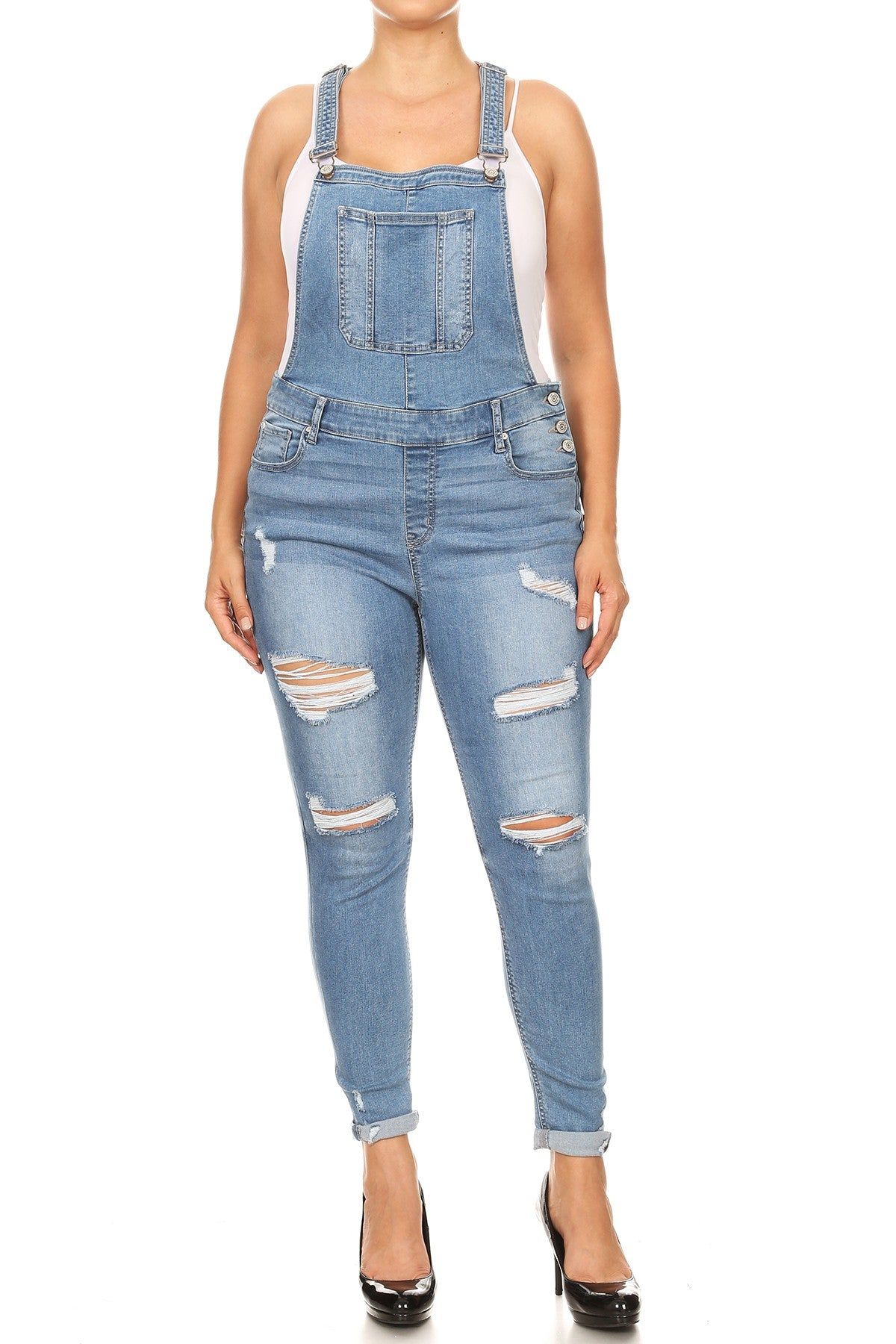 Medium Distressed Denim Overalls - PLUS - JEAN