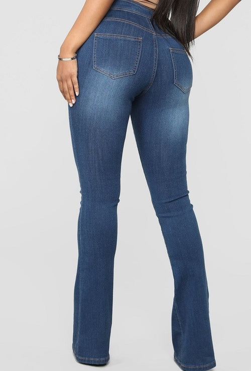 Miss Prissy High Waist Flare Leg Jeans - JEANS