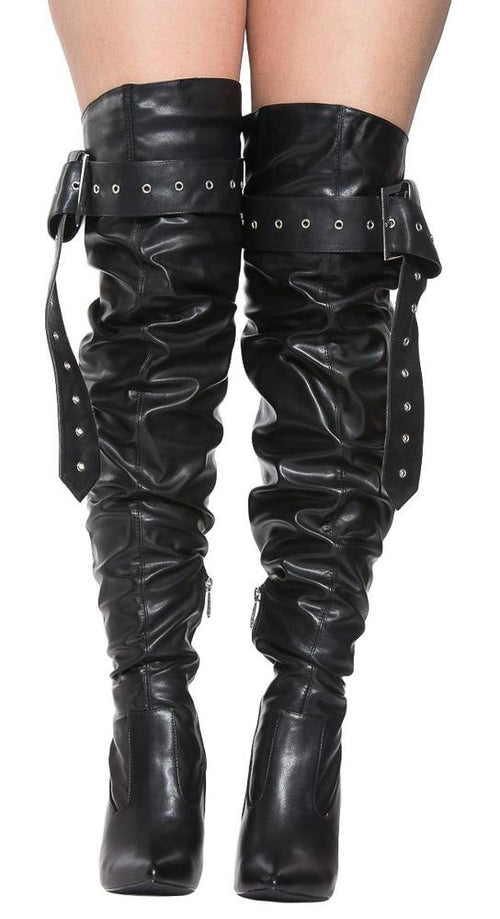 Barbie Bad A$$ Black Thigh High Buckle Up Stiletto Boots - boots