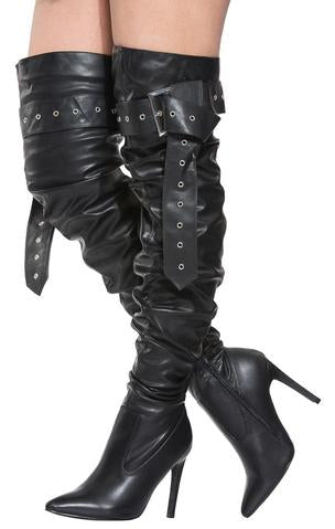 Barbie Bad A$$ Black Thigh High Buckle Up Stiletto Boots