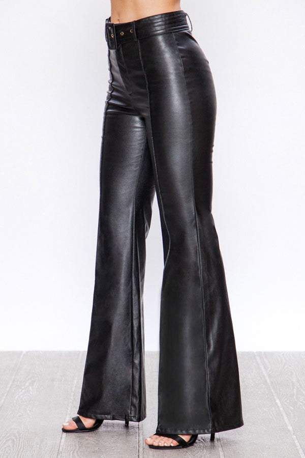 Retro Belted Wide Leg Bell Bottom Faux Leather Pants