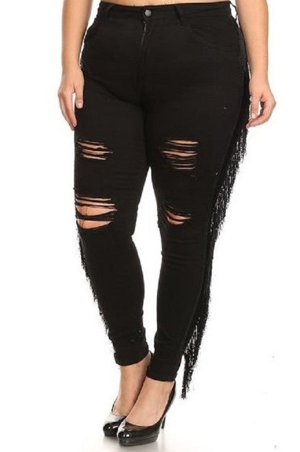 Fiesta Fringe High Rise Distressed Skinny Jeans - PLUS