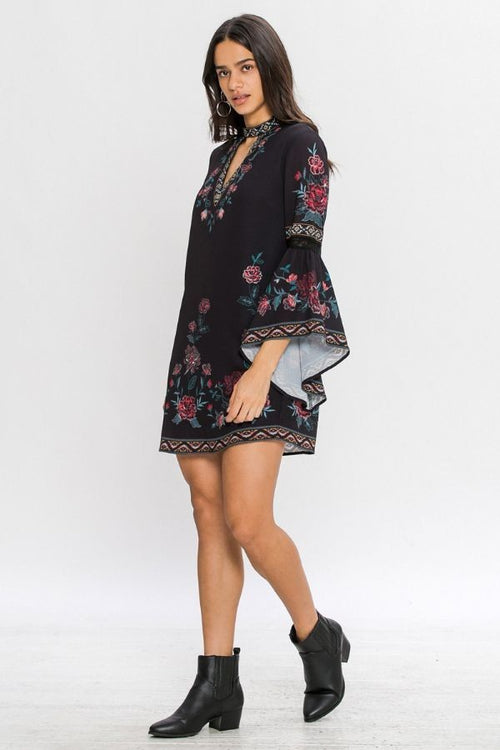 Black Floral Choker Neck Dress