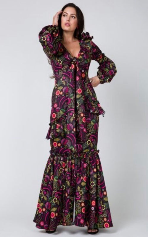 Vanessa Black Deep V-Neck Floral Mermaid Maxi Dress