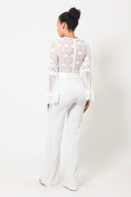 White Sheer Lace Bell Sleeve Jumpsuit