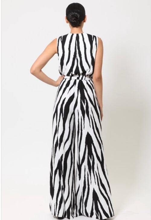 Zara Zebra Print Sleeveless Wide Leg Jumpsuit