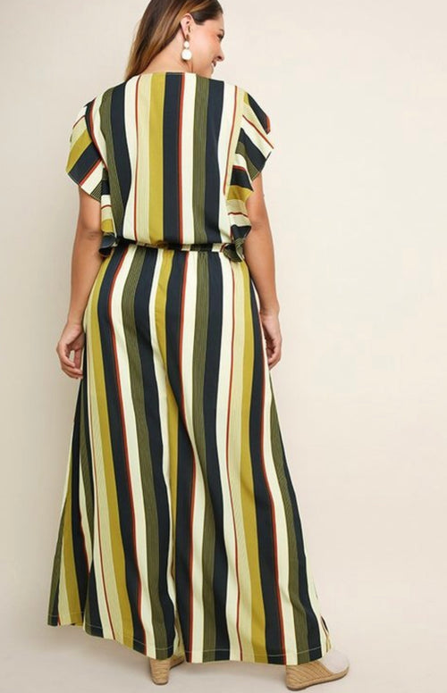Multicolor Striped Jumpsuit PLUS - jumpsuit