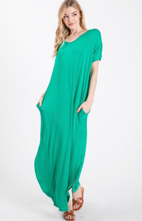 Keep Me Smiling Kelly Green Maxi SunDress