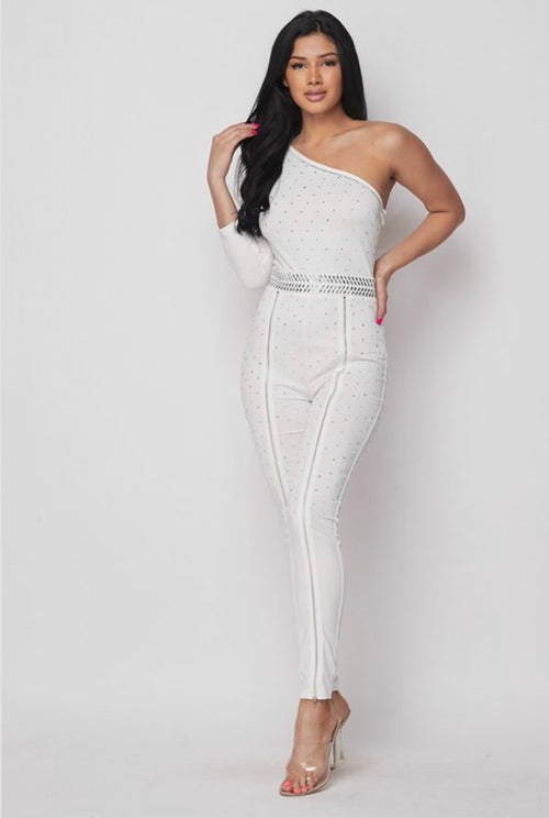 Princess Kira White One Shoulder Rhinestone Jumpsuit