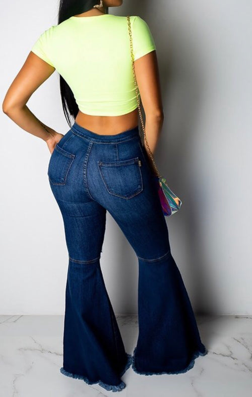 Belliscious Life High Waist Bell Bottom Jeans - PLUS