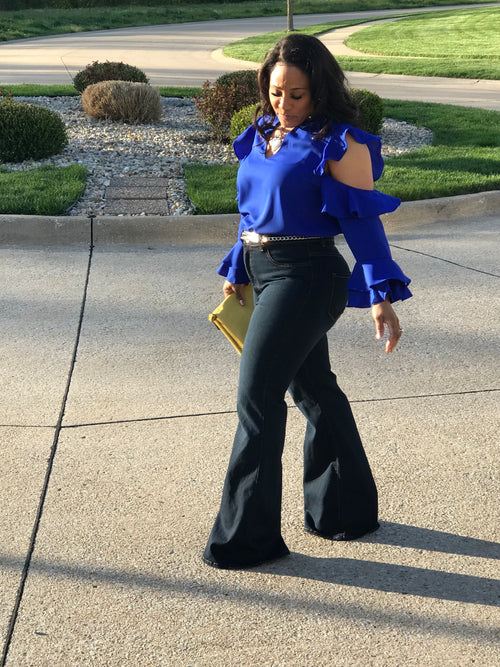 Regal in Royal Blue Ruffle Top