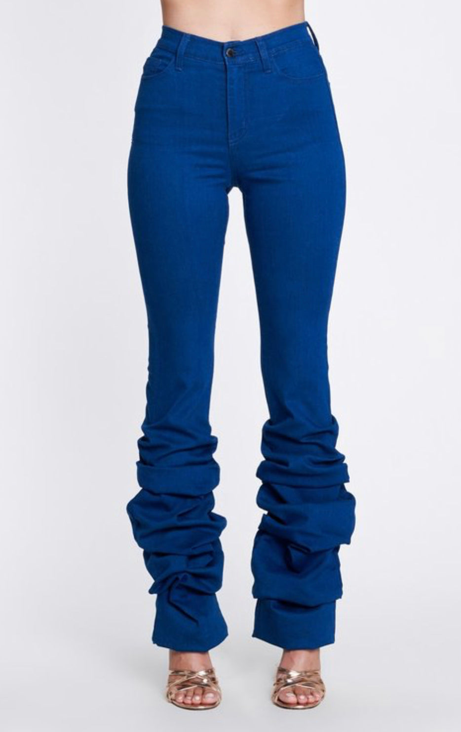 Venice Blue HIgh Waist Stacked Leg Denim Jeans - JEANS
