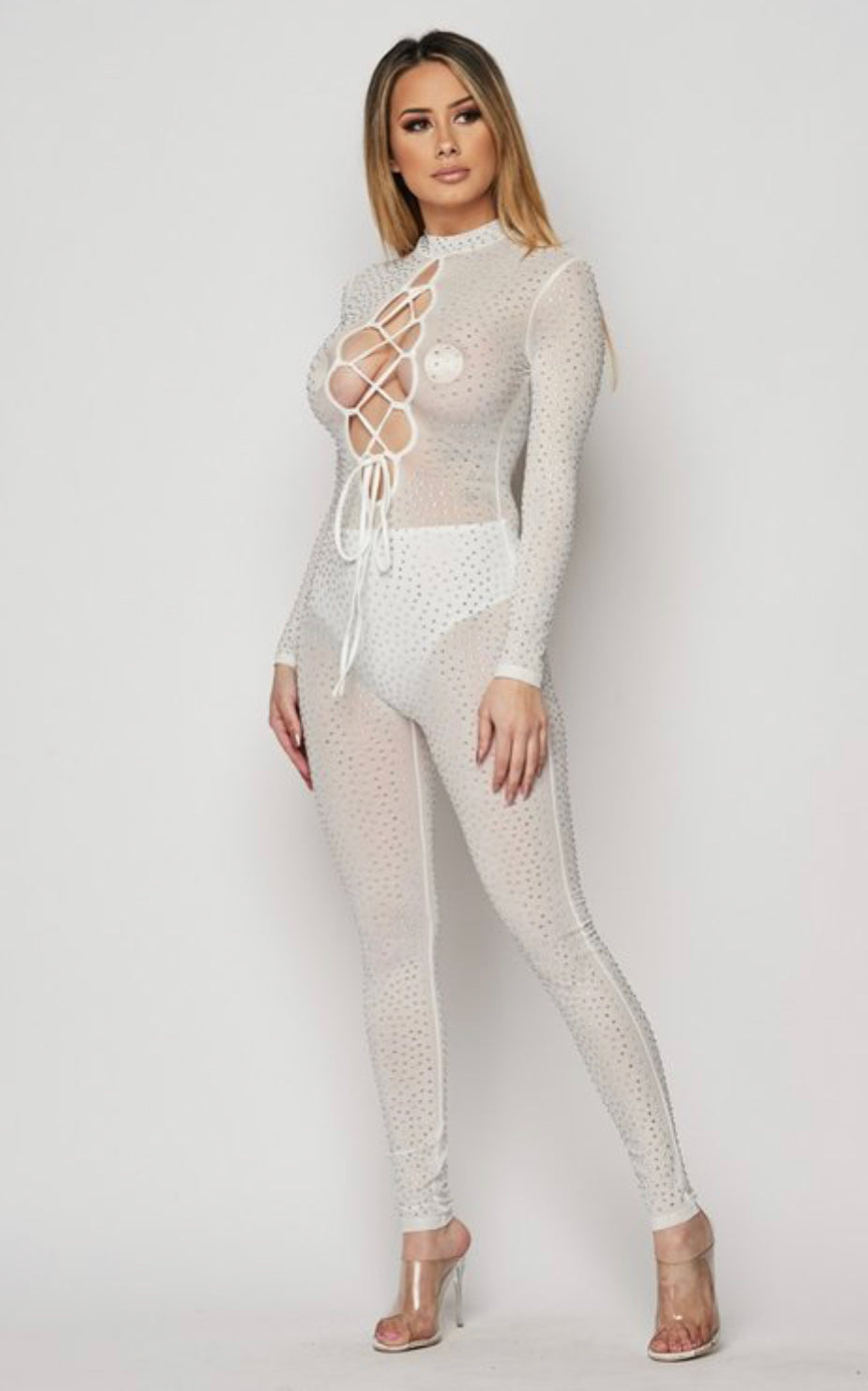 Sexy White Lace-Up Front Rhinestone Jumpsuit
