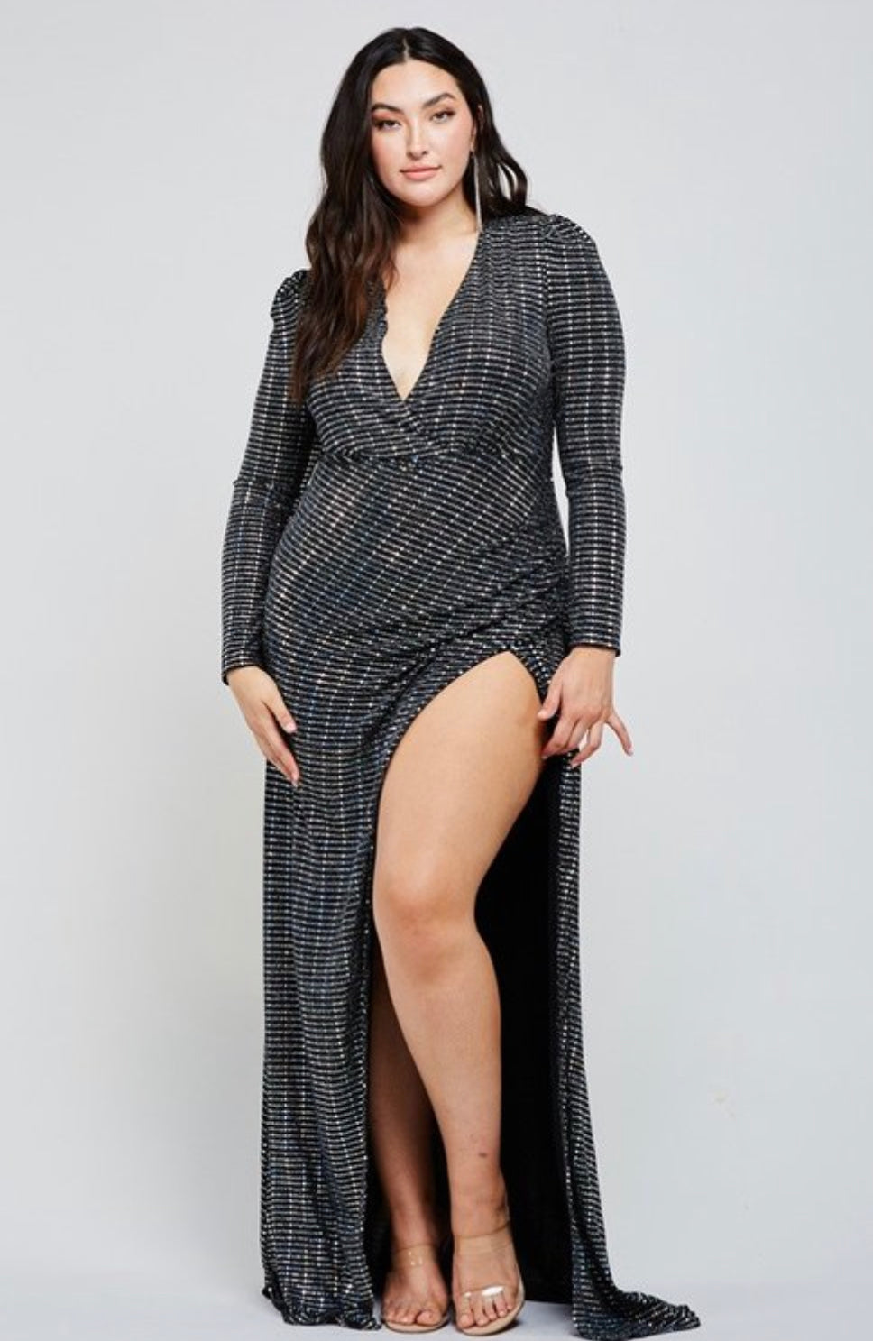 Sexy Holiday Black Hologram Sequin Tile Maxi Dress W/Split - PLUS