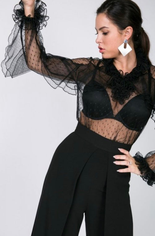 Frilly Black Cascading Ruffle Mesh Dot Blouse Top