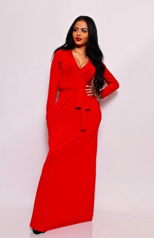 Holiday Ready Sexy Red Maxi Wrap Dress