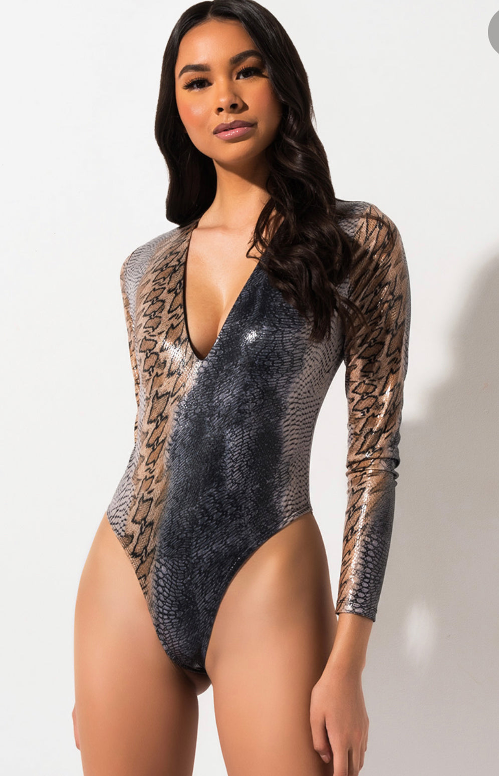 Watch Me Slither Mixed Snakeskin Print Bodysuit Top