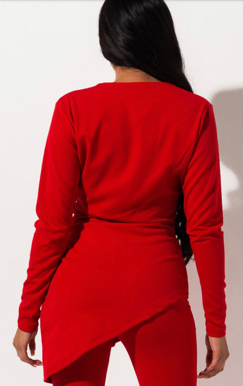 Made For Love Red Long Sleeve Ruffle Top
