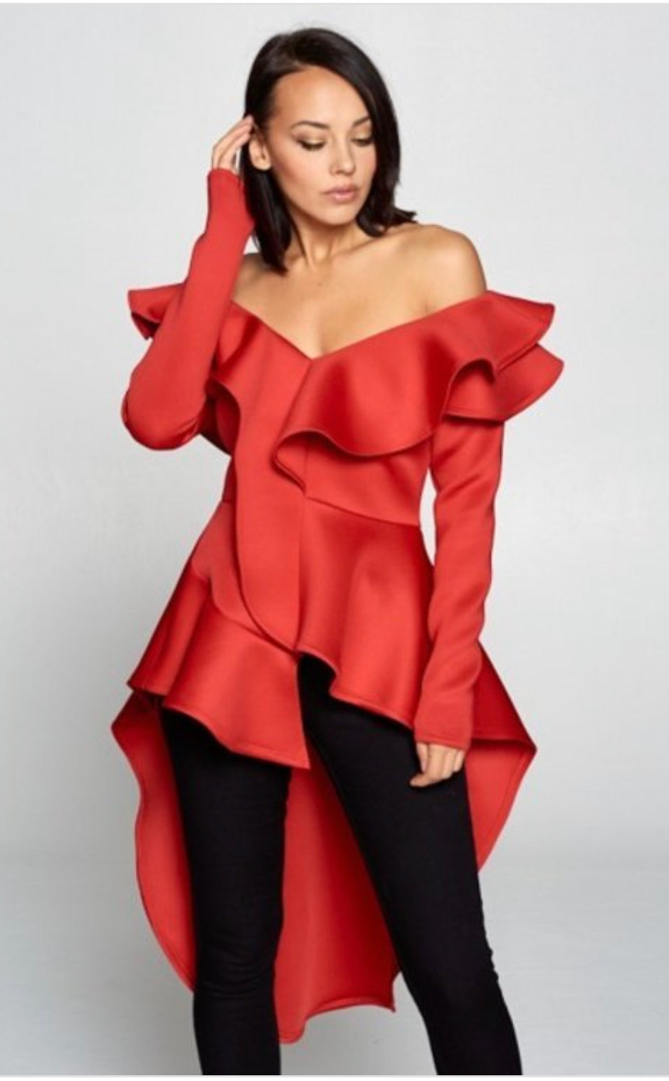 Drama Queen Red Off Shoulder Ruffled Hi Low Top
