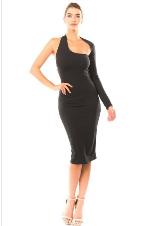 Catch My Fly One Shoulder Wrap Arm Midi Dress