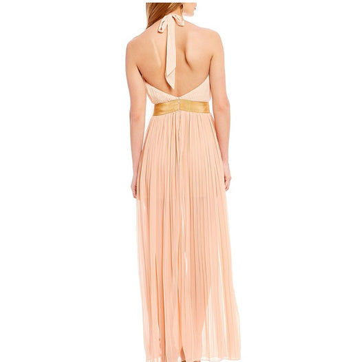 Peach Pleated Halter Tie Neck Sundress