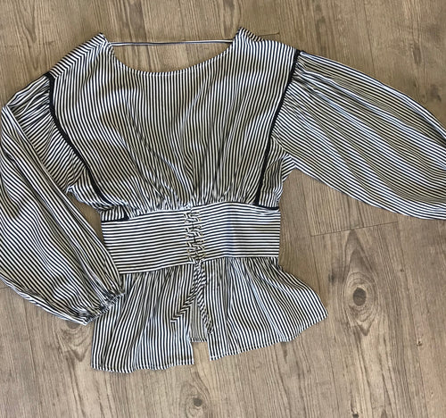 Striped Puffy Sleeve Corset Top