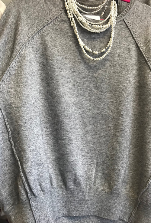Heather Grey Cutout Pearl Detail Sleeve Sweater Top