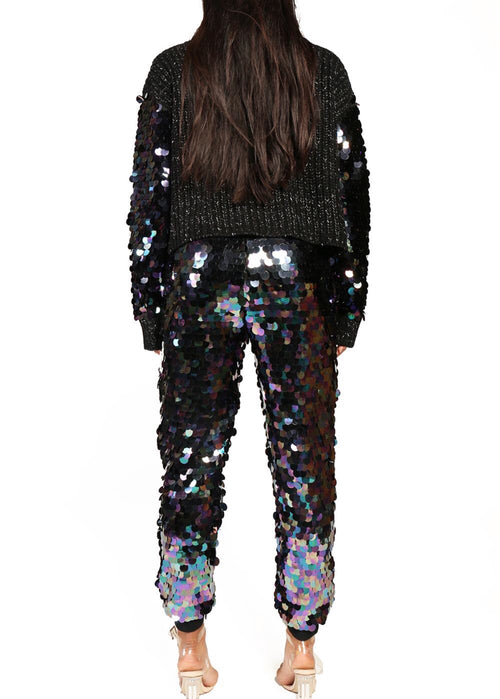 Iridescent Black Large Payette Sequin Joggers