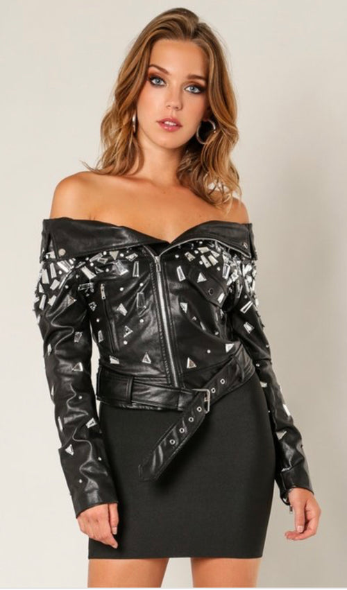 Mirror Mirror On Me Embellished Off Shoulder Vegan Leather Jacket
