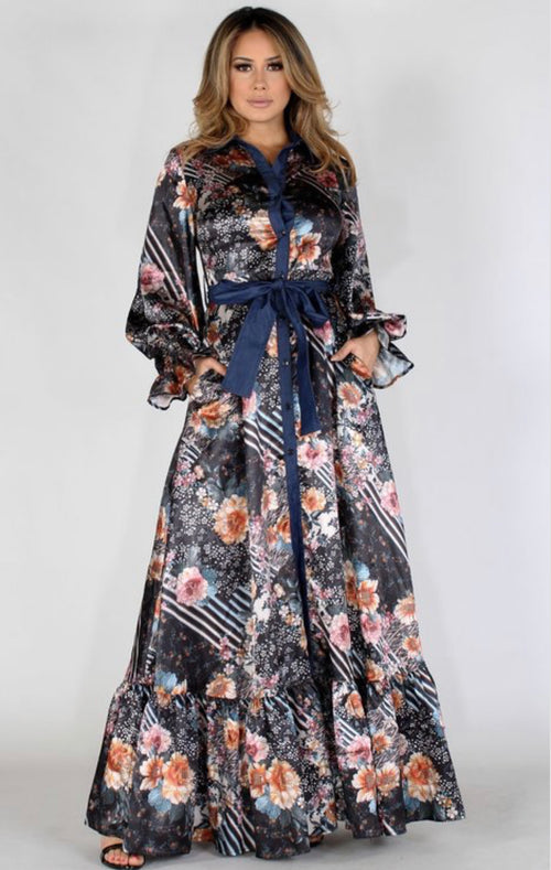 Missy Mixed Pattern Maxi Dress with Denim Trim