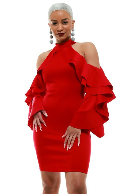 Be Still My Heart Red Cold Shoulder Ruffle Sleeve Dress