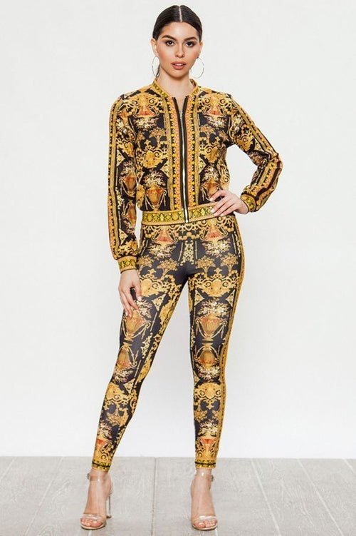 I'm A Celebrity Baroque Print Track Suit Pant Set