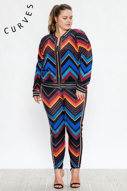 Point Me In the Right Direction Chevron Stripe Velour Track Suit Pant Set -PLUS