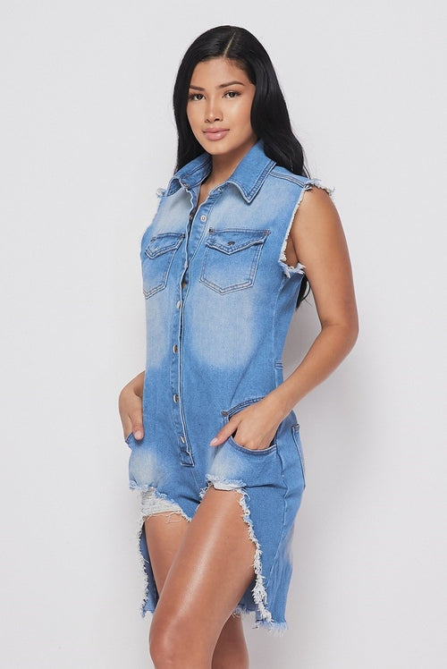 Destroyed Denim Shorts Romper