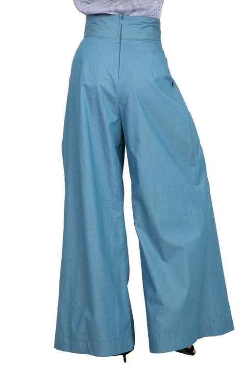 Chambray Light Denim Wide Leg Pants - PLUS