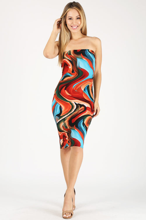Curve City Abstract Print Tube Dress
