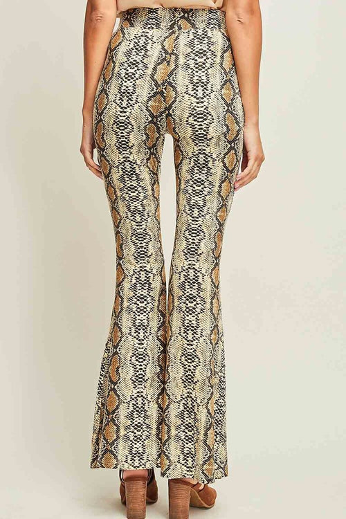 Slick Snakeskin Bell Bottom Legging Pants
