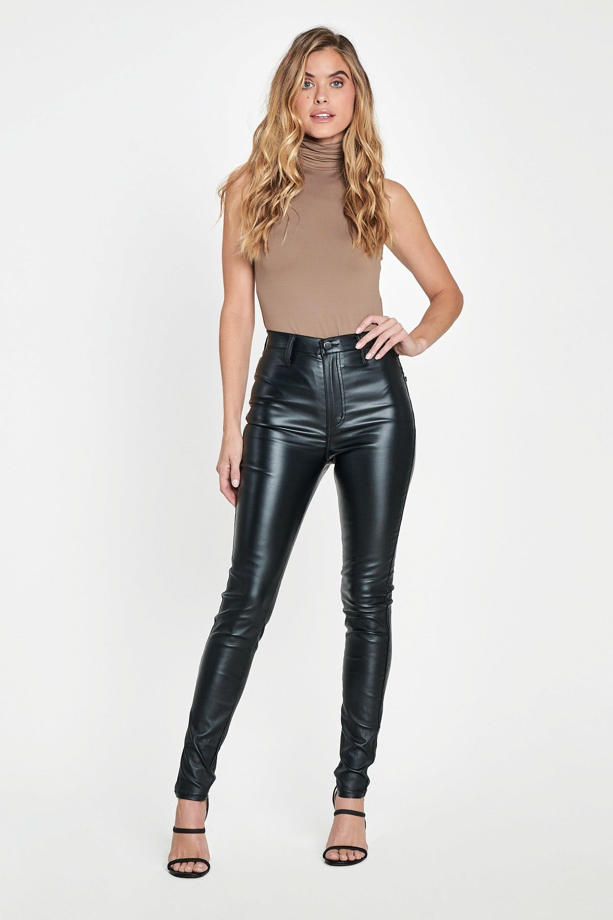 Banging Black Faux Leather Skinny Jean Pants