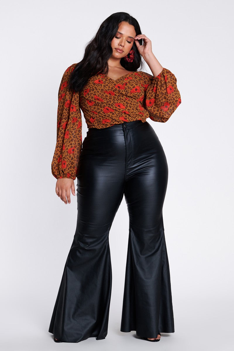 Plus Size - Black Faux Leather Bell Bottom Pants