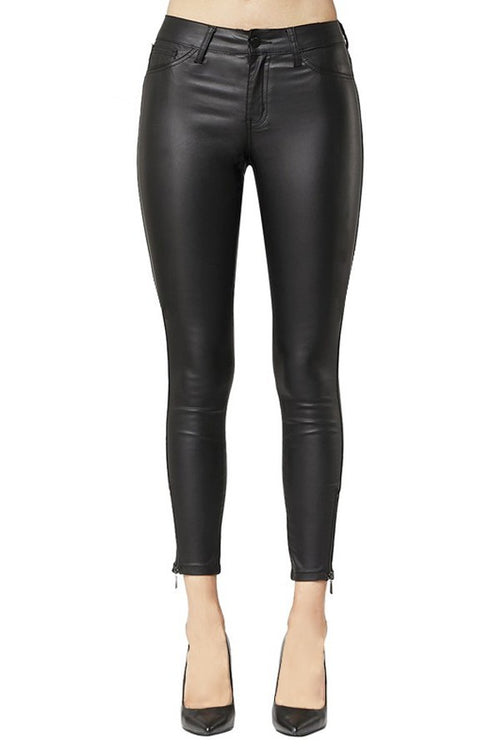 Black Body Hugging Faux Leather Pants with Ankle Zippers