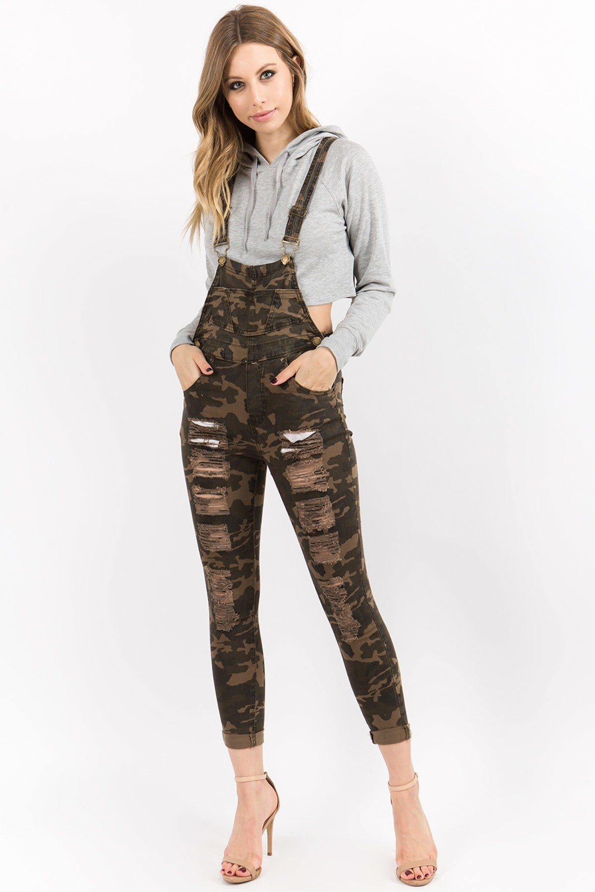Camo Distressed Overall Bibs - PLUS - jumpsuit