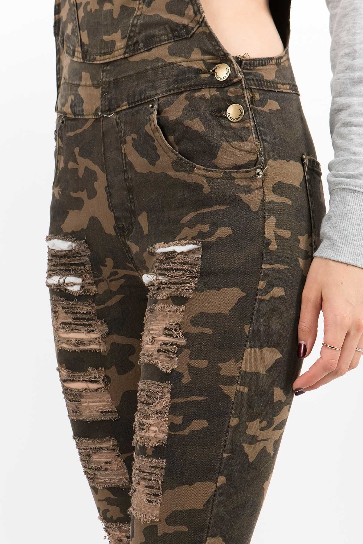 Camo Distressed Overall Bibs - jumpsuit