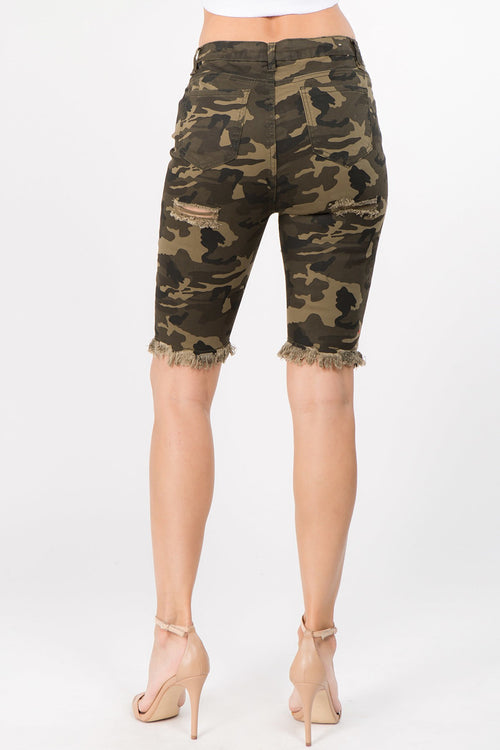 Camo Destroyed Ripped Denim Bermuda Shorts