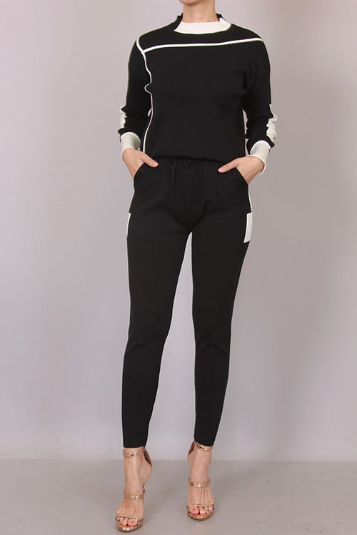 Salina Two Piece Black and White Sweater Pant Set