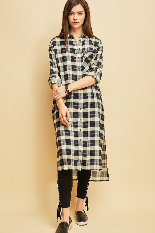 Dark Navy Long Sleeve Plaid Shirt Dress